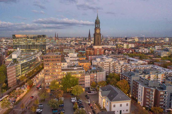 Neustadt, zona moderna en el centro de Hamburgo